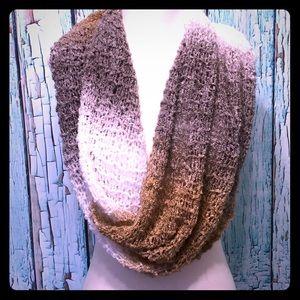 Infinity scarf crochet open weave soft earth tones
